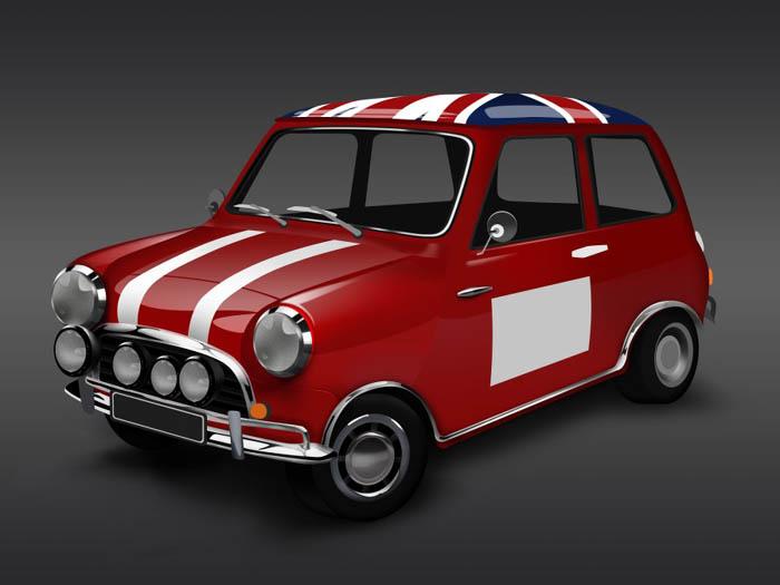 制漂亮的红色小汽车图标高清图片